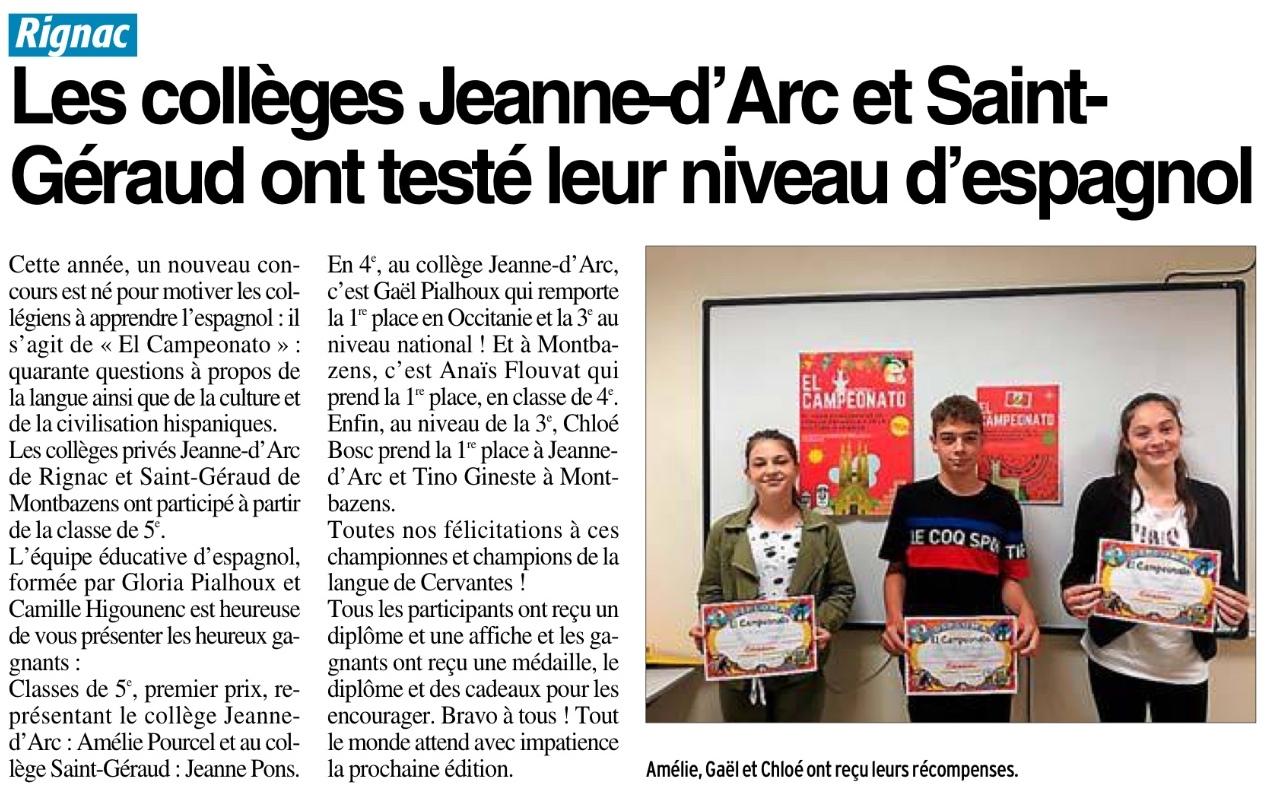 Rignac – Montbazens – Collèges Jeanne d'Arc et St Géraud