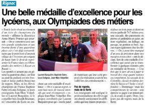 Une belle médaille d'excellence aux Olympiades des Métiers