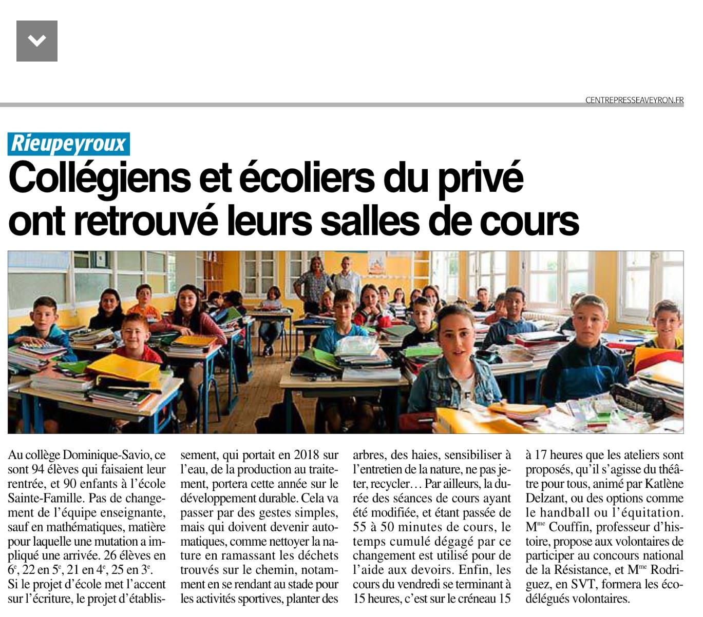 Rieupeyroux – Collège Dominique-Savio et Ecole Ste Famille