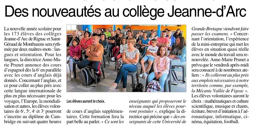 Montbazens – Collège St Géraud – Rignac – Collège Jeanne d'Arc