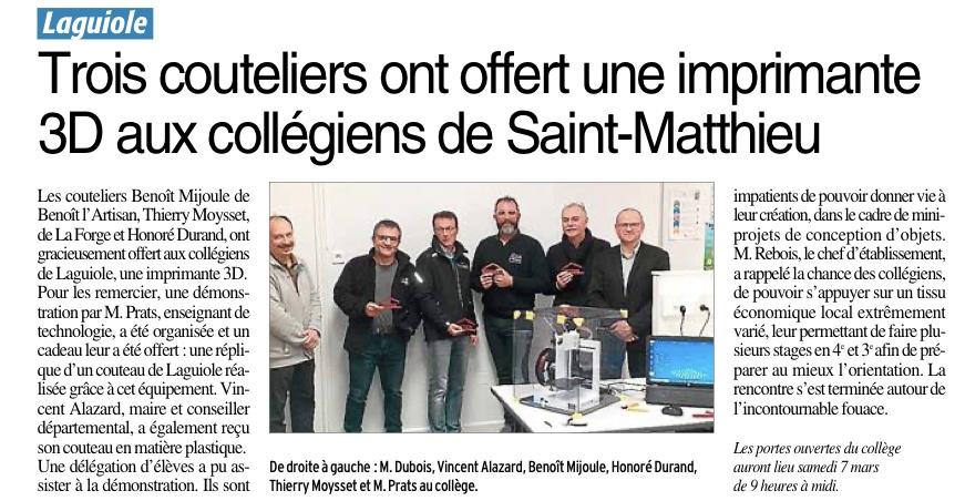 Laguiole – Collège Saint Mathieu