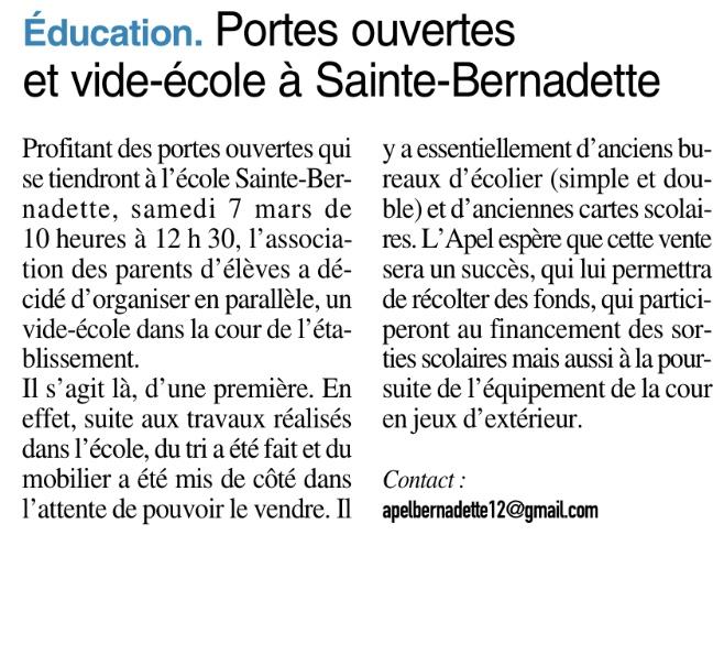 Onet le Château – École Sainte Bernadette
