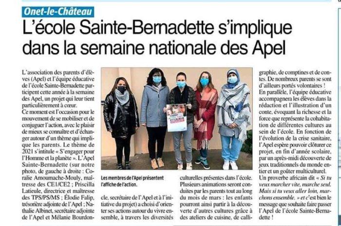 Onet - Ste Bernadette - Semaine des APEL 2021